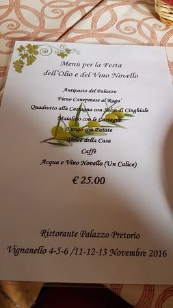Vignanello, Italien: menù della festa dell'Olio