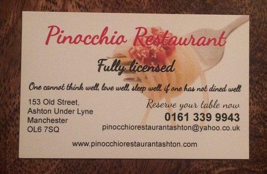 Pinocchio Ristorante: business card