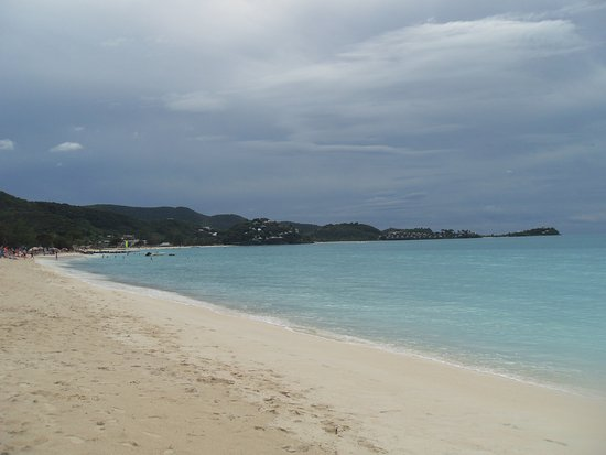 Saint Mary Parish, Antigua: View to left of beach where Hotel's are from quiet area on right hand side