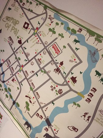 Map of Pai, Thailand on the wall in the entrance of the restaurant Downtown Toronto Hotels Map on