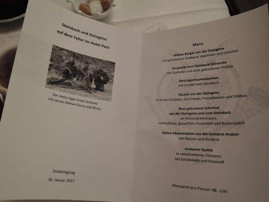 Andeer, Svizzera: the whole unbelievable special menu