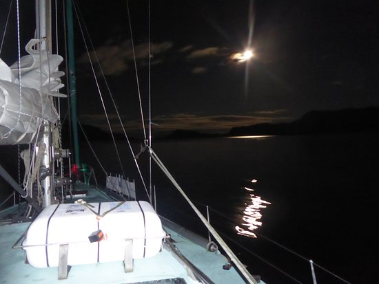 Isle of Eigg, UK: Loch Nevis with the full moon and starry skies