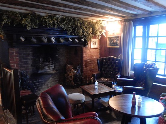 Sun Inn: The lounge and fireplace