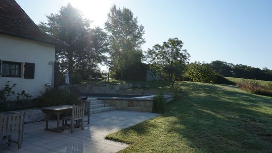 Ozenx-Montestrucq, France : View from the terrace of the salt water pool