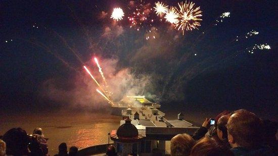 Cromer, UK : People enjoying the fireworks