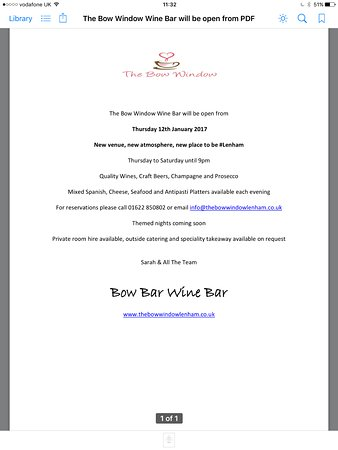Lenham, UK: New Wine Bar opening Thursday 12th January