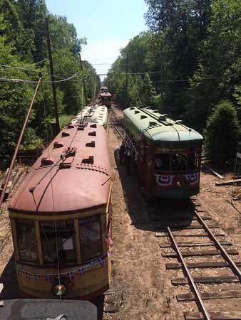 East Windsor, CT: Overlooking trolley cars at Hancock Siding
