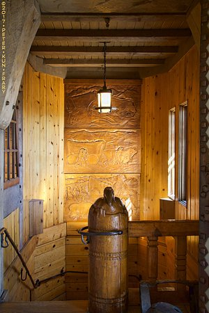 Interior detail (stairway) at the Timberline Lodge