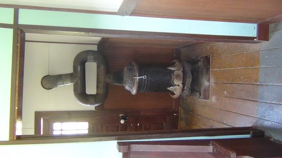 Oroville, WA: antique parlor stove at Old Molson