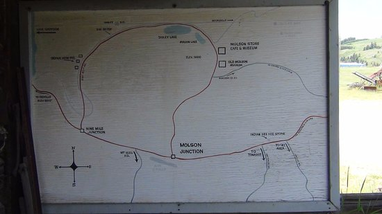 "Oroville, WA: Map showing Molson Road and Nine Mile Road ""loop"" next to Canada"