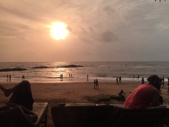 Anjuna, India: sunset view from Shack