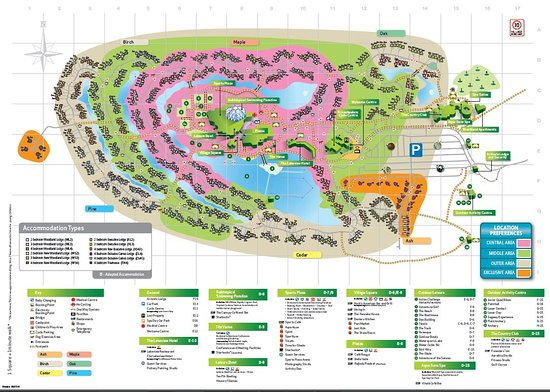 Center Parcs Elveden Map Site map with lodge numbers   Picture of Center Parcs Elveden