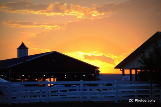 West Bend, WI: Sunset over the horse arena