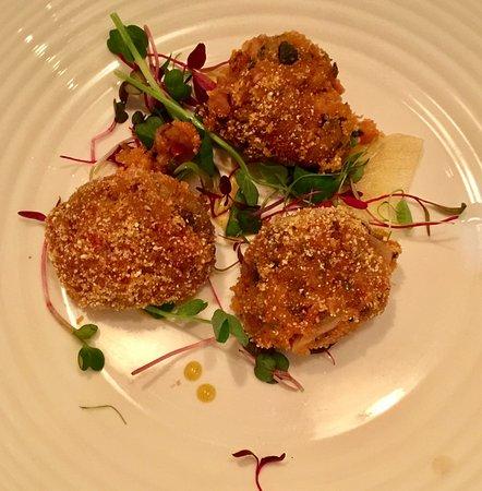Tramezzini: Vegan Starter: Smoked aubergine, mint and chilli arancini with roast lemon and Harissa dressing
