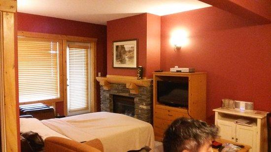 Cornerstone Lodge: リビングのソファーベッド