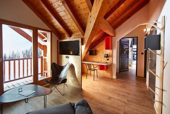 Oz en Oisans, France : Espace salon partagé chambres 24A et 24B