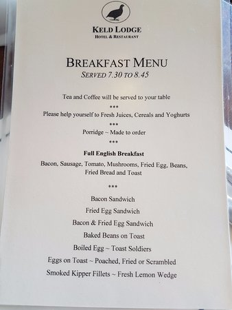 Keld, UK: breakfast menu
