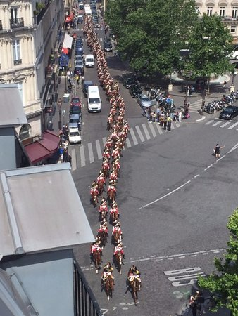 Hotel du Louvre: Bastille Day military parade from our balcony.