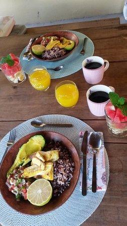 Bed and Breakfast Villa Riviera: We eten veganistisch en Esther maakte ons een heerlijk ontbijt.