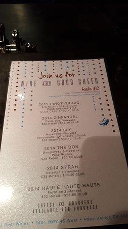 J Dusi Winery: Tasting Menu