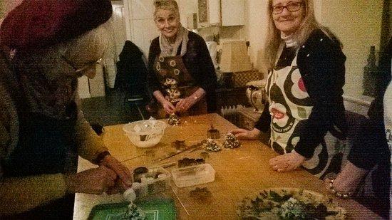 Dwyran, UK: Making Christmas Candles with Llanddwyn WI
