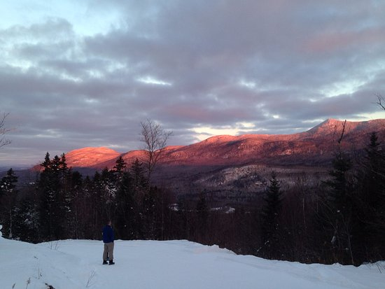 Kingfield, ME: Sunrise over the Bigelow Range from Stratton Brook Hut