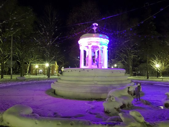 Marshall, MI: Winter photo with Nativity (night)