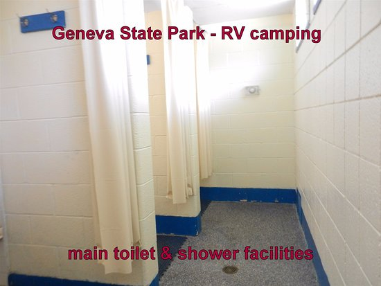 Geneva on the Lake, OH: Geneva State Park Campground - main toilets and shower block