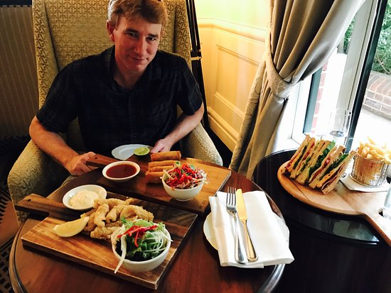 The Lounge at Lilianfels : L-R: The calamari, the duck spring rolls and the club sandwich