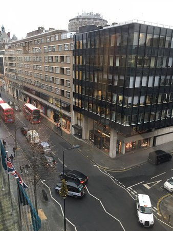 Sloane street view...road leads to train station and Harrods, etc. to the left.