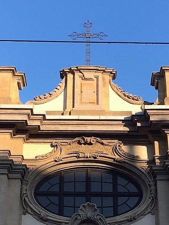 Chiesa di Santa Maria della Passione: Milano, chiesa di s. Maria della Passione: particolare della facciata (genn. 2017)