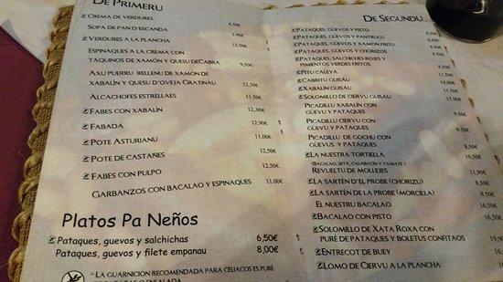 Proaza, España: Carta