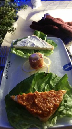 Ice Hotel Romania: Two pieces of bread with ?? and a dollop of fresh salmon mmmm