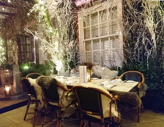 The winter themed dalloway terrace was cozy and festive for Bloomsbury hotel terrace
