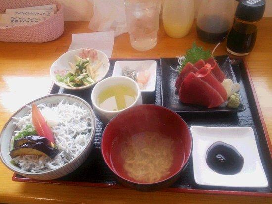 Aki, Japan: カツオ刺身定食のしらす御飯