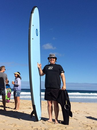 Yallingup, Australia: Me and the 10' board. Im holding the handle in the middle of the board