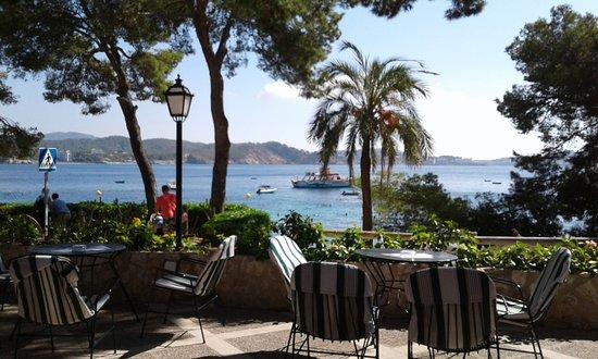 Hotel Cala Fornells: Blick von der Hotelterrasse vor dem Eingang auf das Meer.