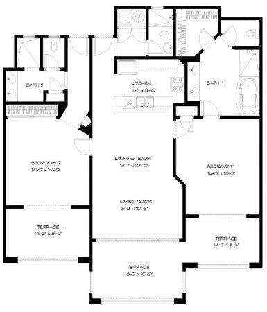 Paraiso Del Mar: Two Bedroom Floor Plan