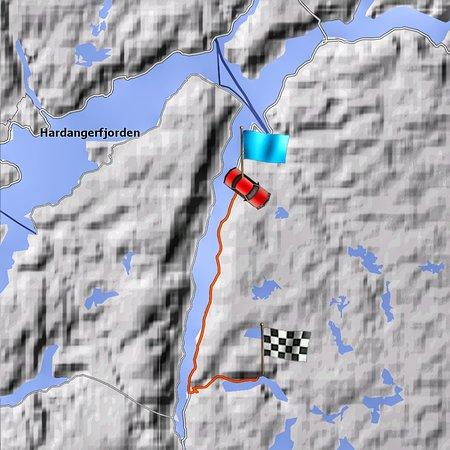 Ullensvang, Norway: Дорога от отеля до начала тропы на Язык Тролля - на авто меньше часа (около 30 км)