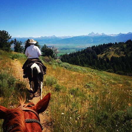 Bagley's Teton Mountain Ranch: Watching the Grand Teton Mountain Range at a trail ride in the Targhee National Forest