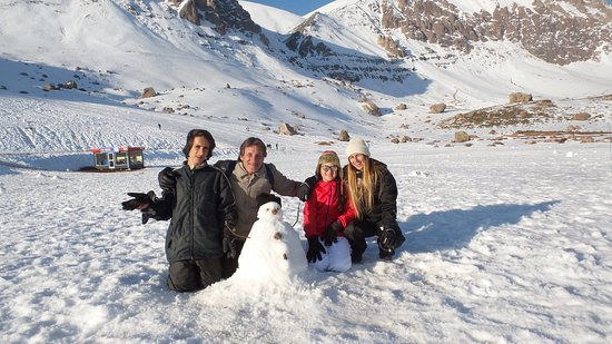 Fazendo boneco de neve no Parque Farellones