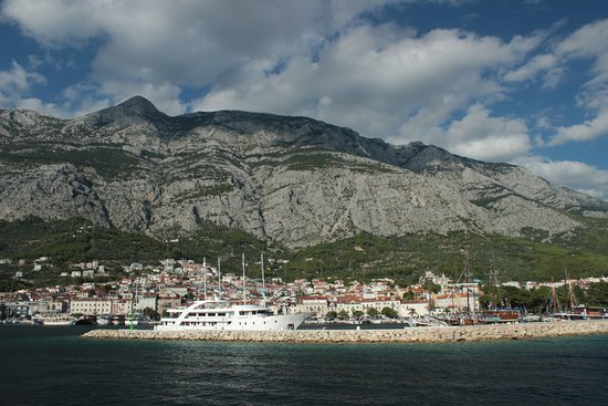 View of the Makarska Harbour from the sea
