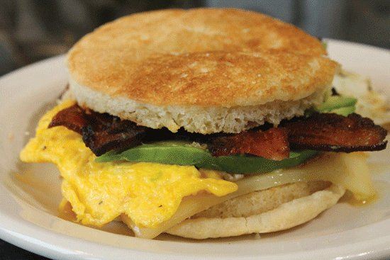 Stevensville, MI: Breakfast Sandwich with house-made english muffin, thick bacon and avocado. Crazy good.