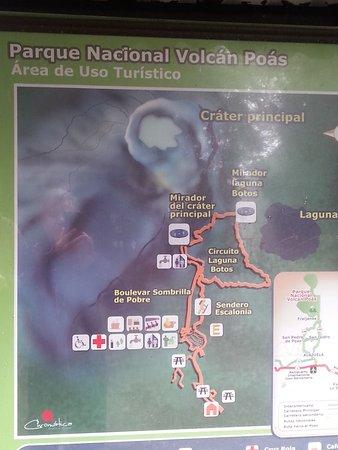 Poas Volcano National Park, Κόστα Ρίκα: מפת השמורה