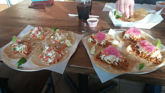 Loveland, OH: Chicken tacos on the left, Pork tacos on the right