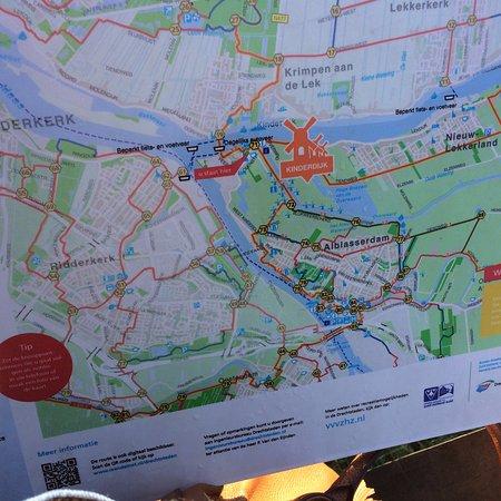 Map Of The Area In Kinderdijk Netherlands Picture Of UNESCO - Netherlands rivers map