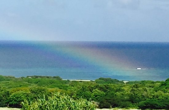 New Castle, Nevis: A photo of the full rainbow from our balcony