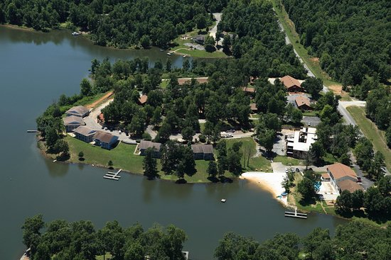 Crown Point Resort: Aerial View of lakefront units and beach area.