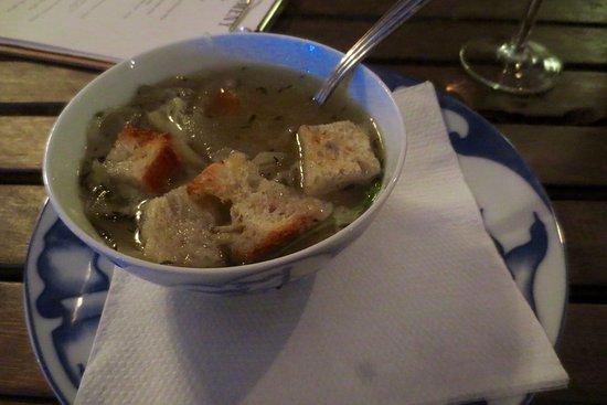 Djurgarden, Sweden: Löksoppa (onion soup)
