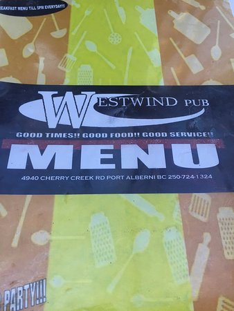 Menu cover, Westwind Pub 4940 Cherry Creek Rd, Port Alberni, British Columbia